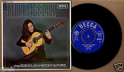 "JULIE FELIX Sings Bob Dylan & Woody Guthrie Decca DFE8613 7"" EP Excellent"