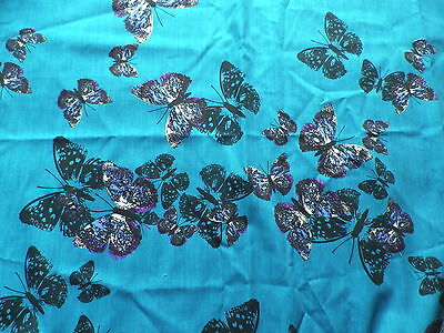 Unusual Poly-Cotton Dress Fabric Turquoise Butterflies Design