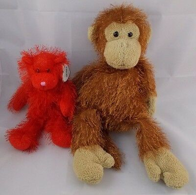 Ty Punkies Red Bear Brown Monkey Plush Lot