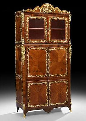 Transitional Antique French Louis XV/XVI Vitrine Cabinet by Francois Reizell