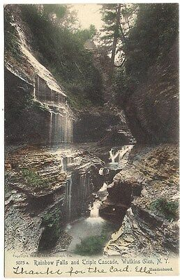 Rare 1905 Postcard 5075a. Rainbow Falls and Triple Cascade, Watkins Glen, N. Y.