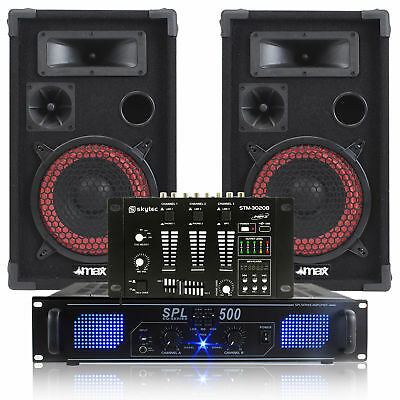 "Pair 8"" DJ Disco Party Speakers with PA Amplifier and 6-CH Mixer System 500W"