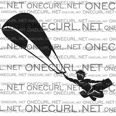 Kiteboarding vinyl sticker, car decal, KITESURF unhooked, black white