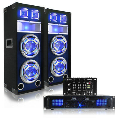 Speaker And Amp Party Pack Mixer Loudspeakers Ideal For Dj Disco