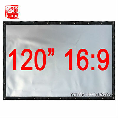 """120"""" 16:9 Portable Gray Silver Projection Screen Curtain for 3D Projector Beamer"""