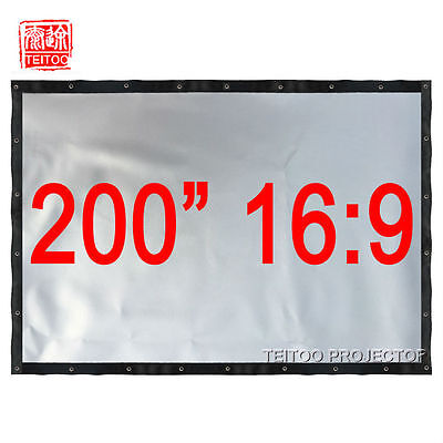 """200"""" 16:9 Large Size Silver Projector Projection Screen Watch 3D Movies Outsides"""