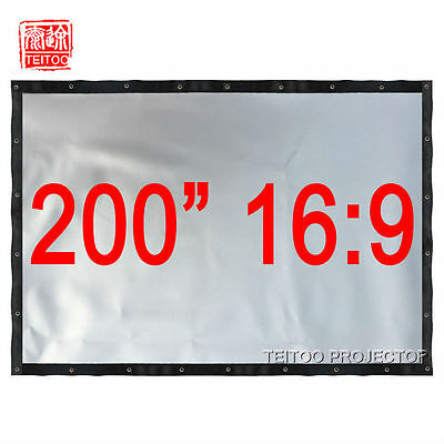 "200"" 16:9 Large Size Silver Projector Projection Screen Watch 3D Movies Outsides"