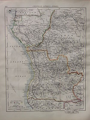 1900 Victorian Map ~ Central Africa West French Congo European Possessions