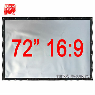 "72"" 16:9 Foldable 3D Silver Projection Screen Curtain to Home Theater Projectors"