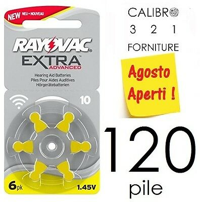 NEW 120 batterie RAYOVAC 10 ADVANCED EXTRA PR70 apparecchi acustici GIALLE pile