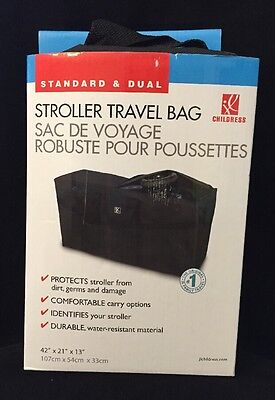 "JL Childress Standard and Dual Stroller Travel Bag, Black, 42"" X 21"" X 13"", New"