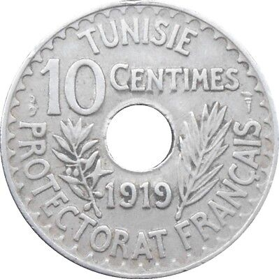 Tunisia French Colony 10 Centimes 1919 1337 KM#243 Muhammad al-Nasir (2791)