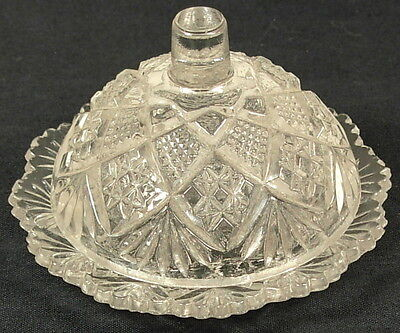 Thumbelina Flattened Diamond Child's Toy Covered Butter Dish Glass