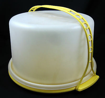 Tupperware Vintage Round Tall Cake Saver Carrier Yellow Base and Handle