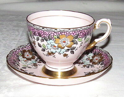 Tuscan Cup & Saucer 1501H Roses and Extensive Gold - Excellent