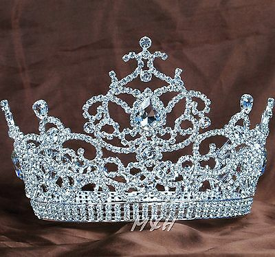 Gorgeous Large Tiara Diadem Floral Crown Rhinestone Wedding Beauty Pageant Party