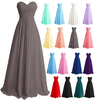 Long Formal Wedding Party Bridesmaid Prom Evening Cocktail Gown Dress Size 6-22