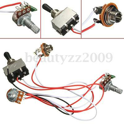 Electric Guitar 3 Way Toggle Switch Wiring Harness Kit 1 Volume 1 Tone 500K