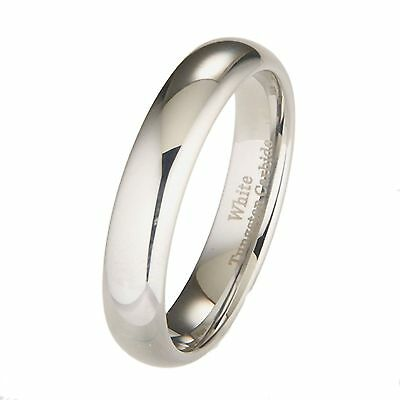 5mm White Tungsten Carbide Polished Classic Wedding Ring Size 9