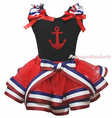4th July Bling Sailor Black Top RWB Striped Satin Trim Skirt Girls Outfit NB-8Y