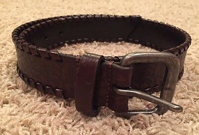 Genuine Leather Brown Stamped Belt Sz Small Made In Argentina Women Youth