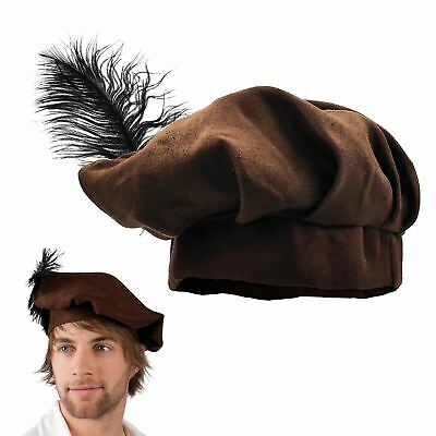 59cm Circumference Boys Medieval Tudor Renaissance Fancy Dress Hat Beret Feather