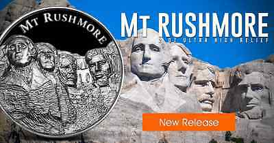 American Landmark Series Mount Rushmore Ultra High Relief 2 oz Silver BU Round