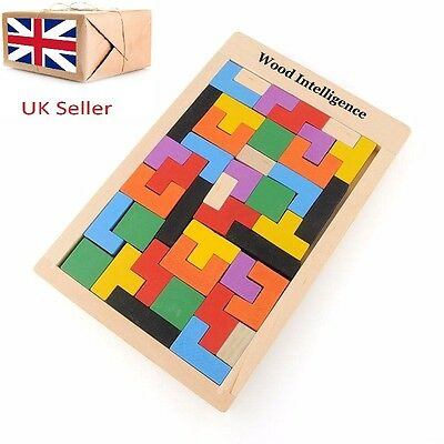 Childs Play Tetris Style Game Wooden Blocks Puzzle Tangram Educational Wood Toy