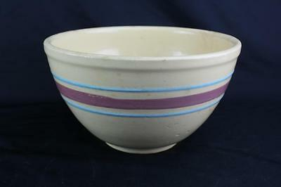 Watt Pottery Oven Ware #9 Mixing Bowl Pink & Blue Cotton & Co Advertising 1930s?