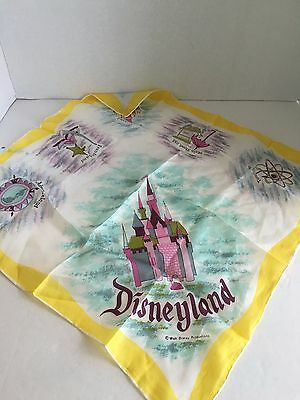 Vintage Disneyland 6 1/4 Momme Rayon & Silk Hand Rolled Scarf Made In Japan