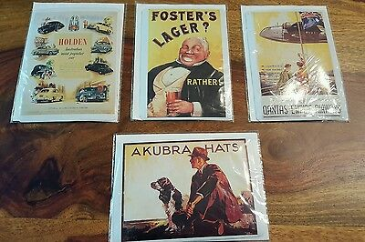 4 retro metal australia postcards - Akubra ,Holden, Foster, Qantas by greetin
