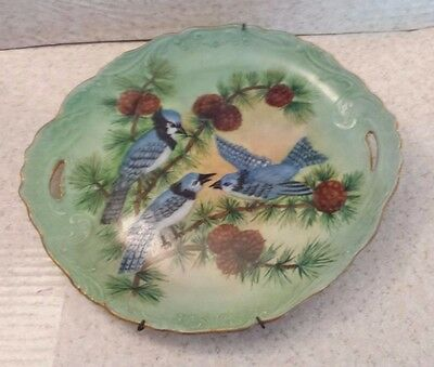 ANTIQUE HAND PAINTED BLUE JAYS BIRDS PLATE TRAY Open Handles PINE CONES Green