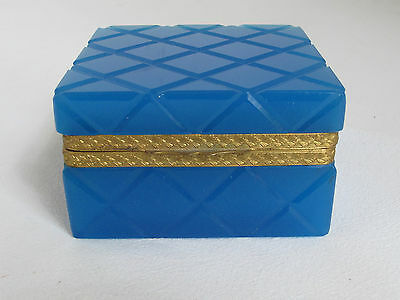 Antique French Blue Opaline Cut Crystal Jewelry Trinket Box hinged Casket