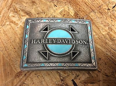 Usa Harley Davidson Belt Buckle 1992 The Western Spirit Turquoise Enamel Pewter