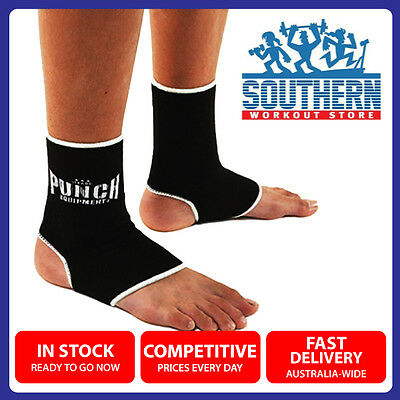 PUNCH Deluxe Thai-Style Anklets (11PA) Protective Kickboxing Black Padding