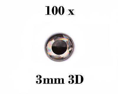 100 Pack of 3mm 3D FISH EYES Silver with Black Iris Fishing Lures Jig Crafts Fly