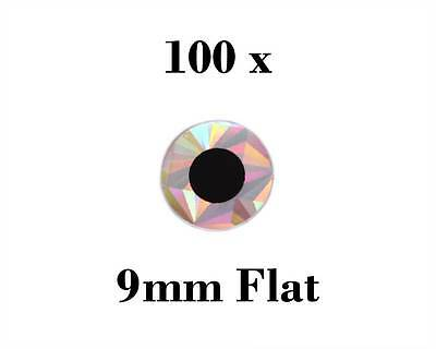 100 Pack of 9mm FLAT FISH EYES Silver with Black Iris Fishing Lure Jig Craft Fly