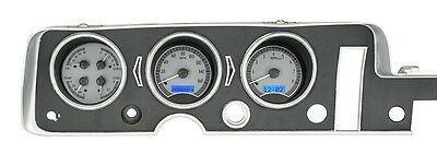 1968 GTO Lemans Tempest Dakota Digital Silver Alloy & Blue VHX Analog Gauge Kit