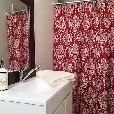 Quickfit Modern Shower Curtain + 12 Decorative Hooks | Red Damask Pattern