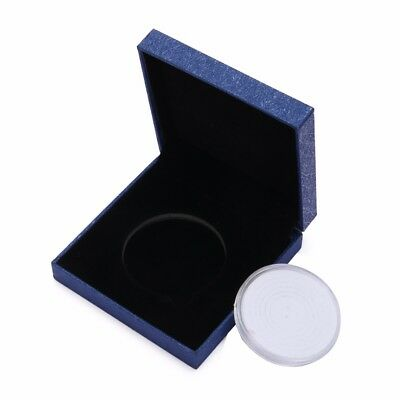 Coin Medal Presentation Box Display Case Single Coin with Capsule Blue Luxury