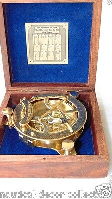 Antique Nautical Brass Sundial Compass-Vintage Compass With Solid Wooden Box