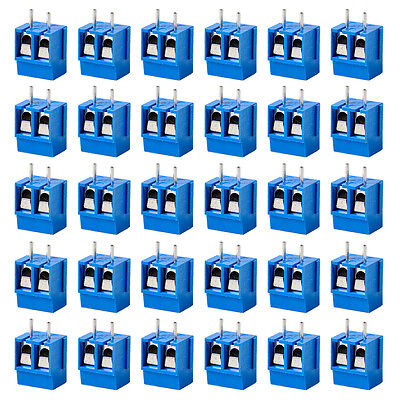 50pcs Plug-in Screw Terminal Block Connector 5mm Pitch PCB Mount 2way 2-Pin