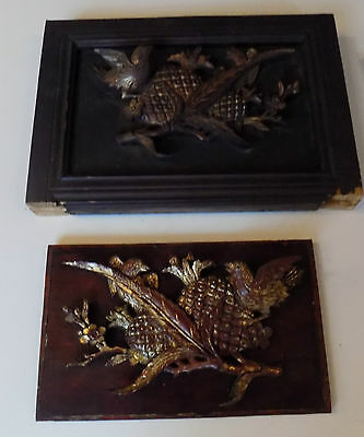 Chinese Antique Carved Wood Pair Panels Large Birds Flower & Pineapple