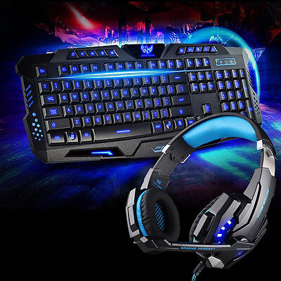 2 in 1 Gaming LED Light Headset CellPhone Headphone For PS4 Xbox One + Keyboard