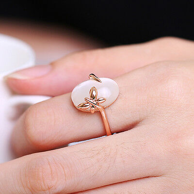 Fashion Charming Opals 18k Gold Plated Golden Butterfly Band Ring Size#7#8