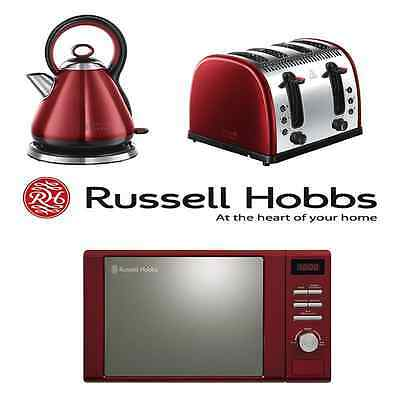 Red Russell Hobbs Microwave, Legacy Kettle & 4 Slice Toaster Kitchen Bundle Set
