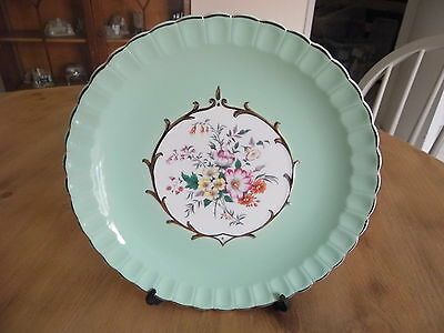 H J Wood Burslem Green Cake Plate Circ: 1940 Onwards Excerlent Condition