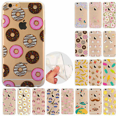 Rubber Pattern Soft TPU Silicone Back Case Cover For Apple iPhone 8 5s 6s 7 Plus