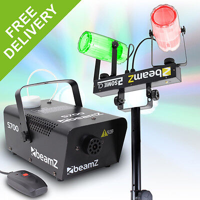 Beamz 700W Fog Blast Machine + Sound Activated LED Stage Effect Light + Stand