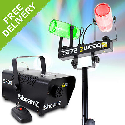 Beamz 2-in-1 Colour LED Party DJ Lighting Set + Fog Machine + Stand 500W
